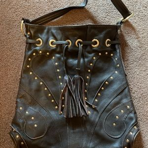 Chocolate Leather EUC Bulga Fringed Bag